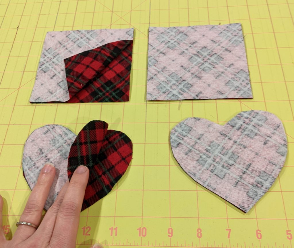 Cut pieces for handwamers, right sides together