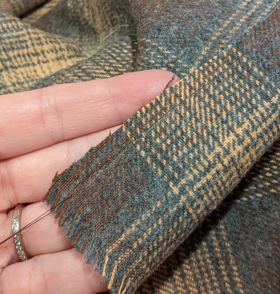 Straight stitch 1/4 inch from cut edge
