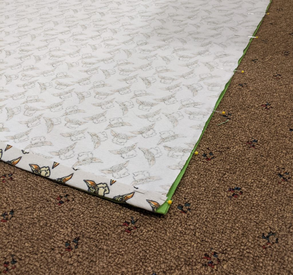 Pin sides of panels together and prepare to sew together