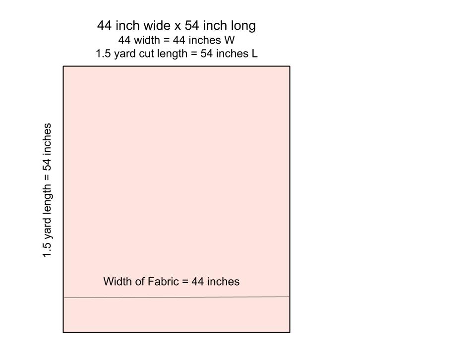 Diagram depicting 44 x 54 finished blanket