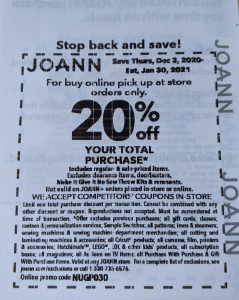 JoAnn Fabric 20% Total Purchase Coupon