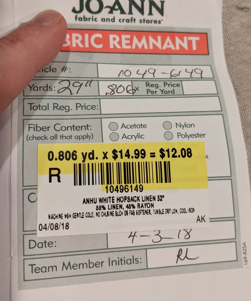 Remant Fabric Pricing Tag