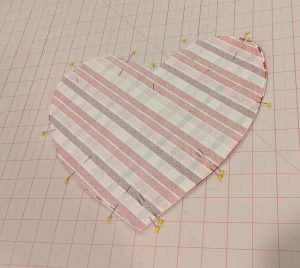 Heart pocket pieces, right sides together