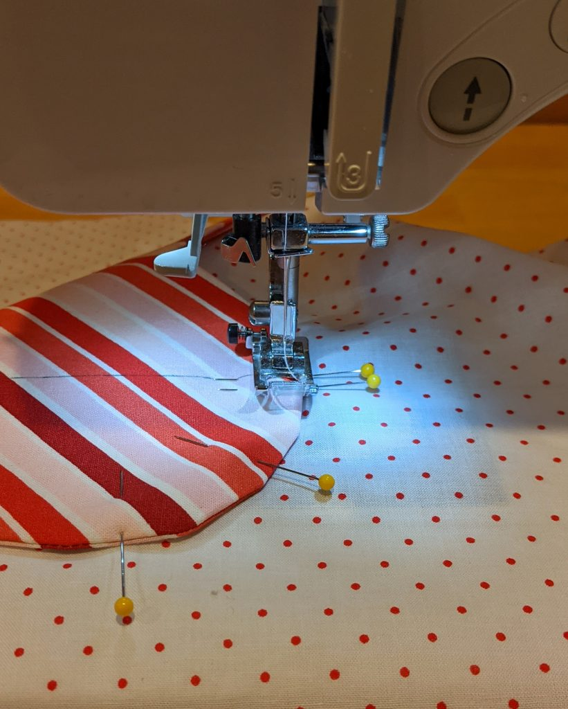 Stitching pocket onto pillow front