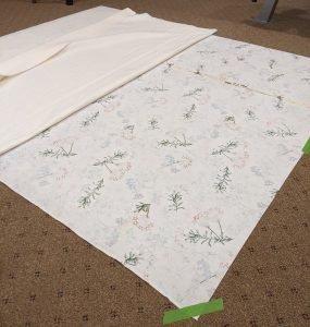 Spray basting quilted velvet blanket