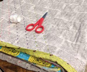 Attaching binding with big-stitch method